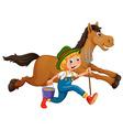 Farmer and horse vector
