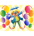 A clown with colorful party balloons vector