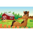 Horse and farm vector