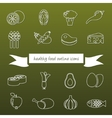 Healthy food outline icons vector
