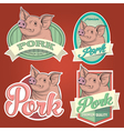 Pork vintage labels set vector