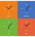 World time clocks in flat style on color squares vector
