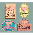 Bacon vintage labels set vector