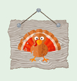 Wooden sign with turkey vector