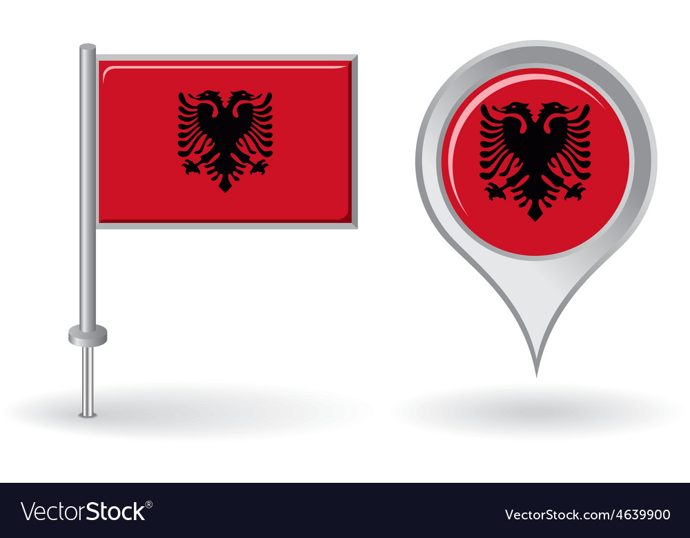 Albanian pin icon and map pointer flag vector | Price: 1 Credit (USD $1)