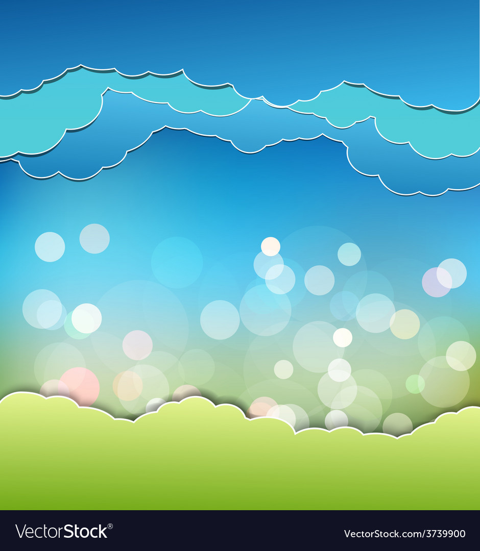 Background with decoration sun blue sky and clouds vector | Price: 1 Credit (USD $1)