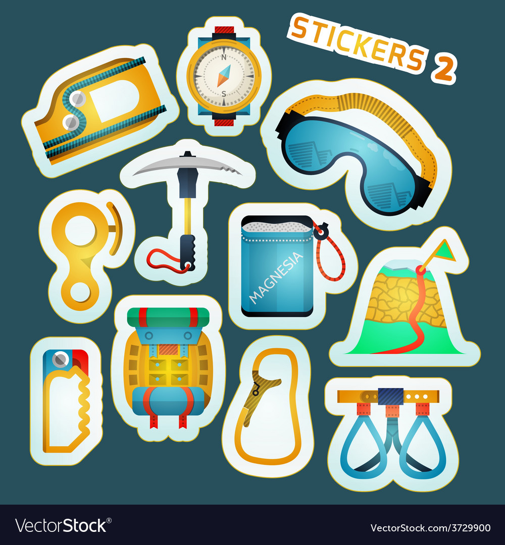 Colored stickers for rock climbing vector | Price: 1 Credit (USD $1)
