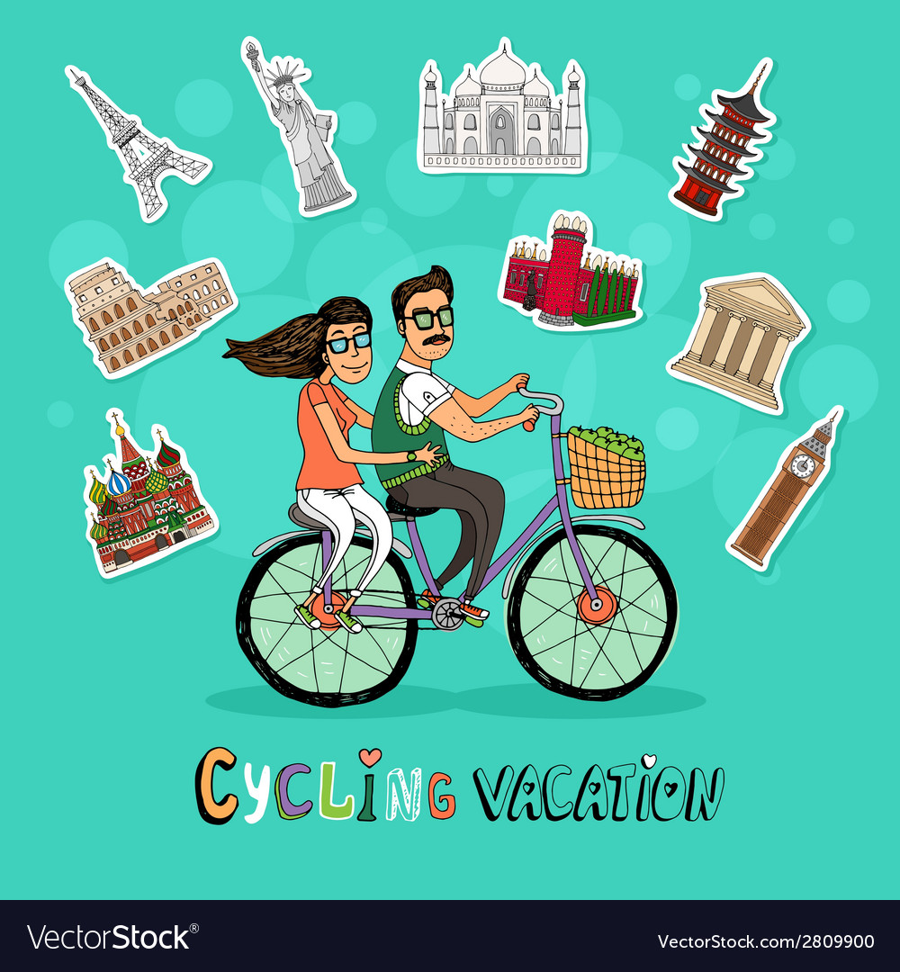 Couple on a cycling vacation vector   Price: 1 Credit (USD $1)