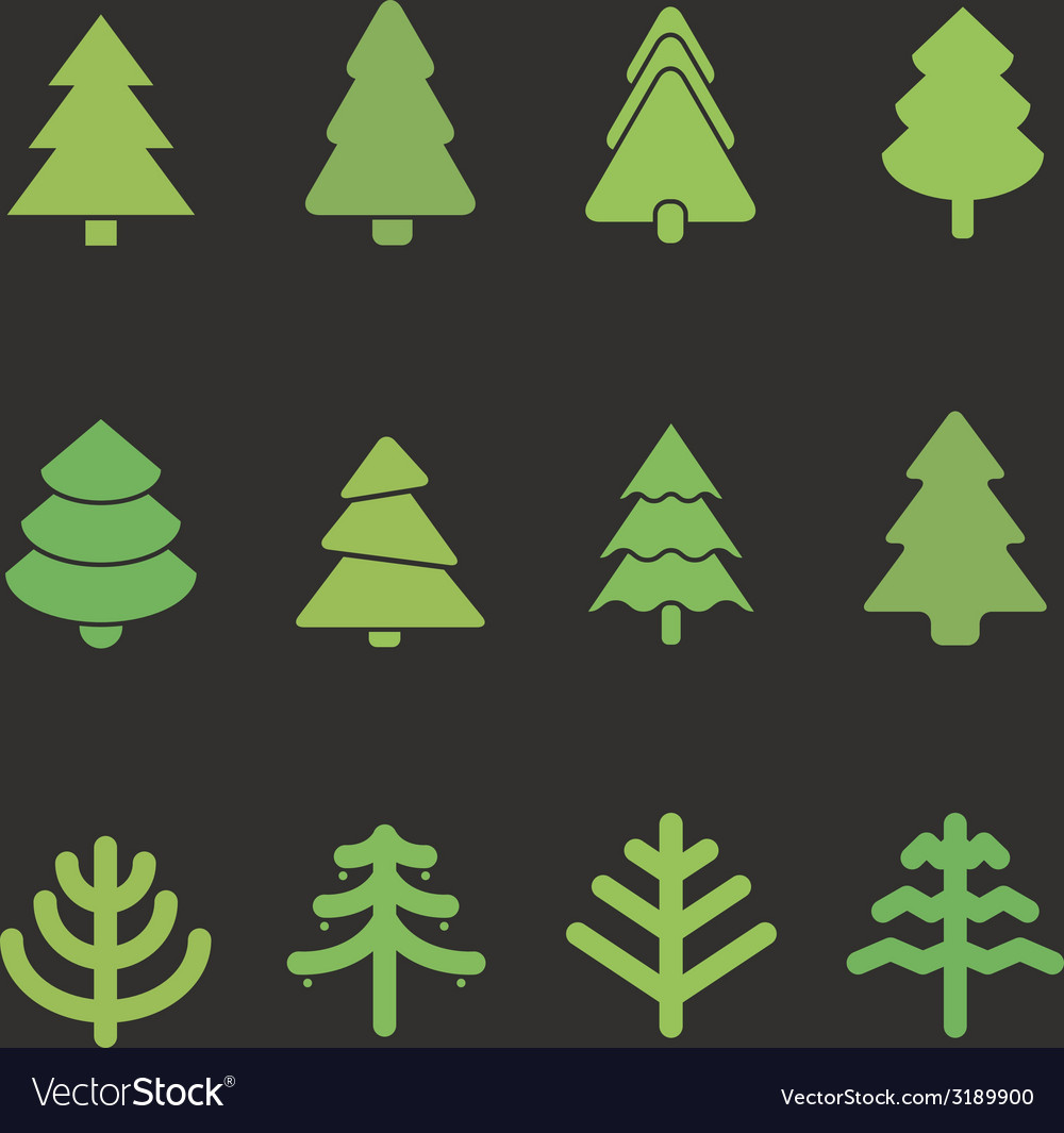 Different christmas tree set vector | Price: 1 Credit (USD $1)
