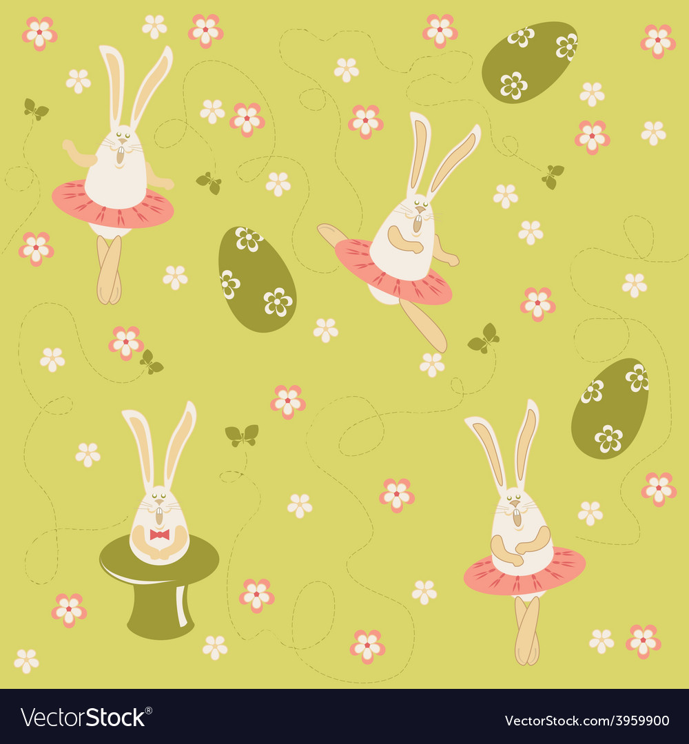 Easter bunnies seamless vector | Price: 1 Credit (USD $1)