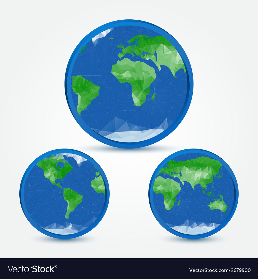 Globe earth abstact icons in polygonal style - vector | Price: 1 Credit (USD $1)