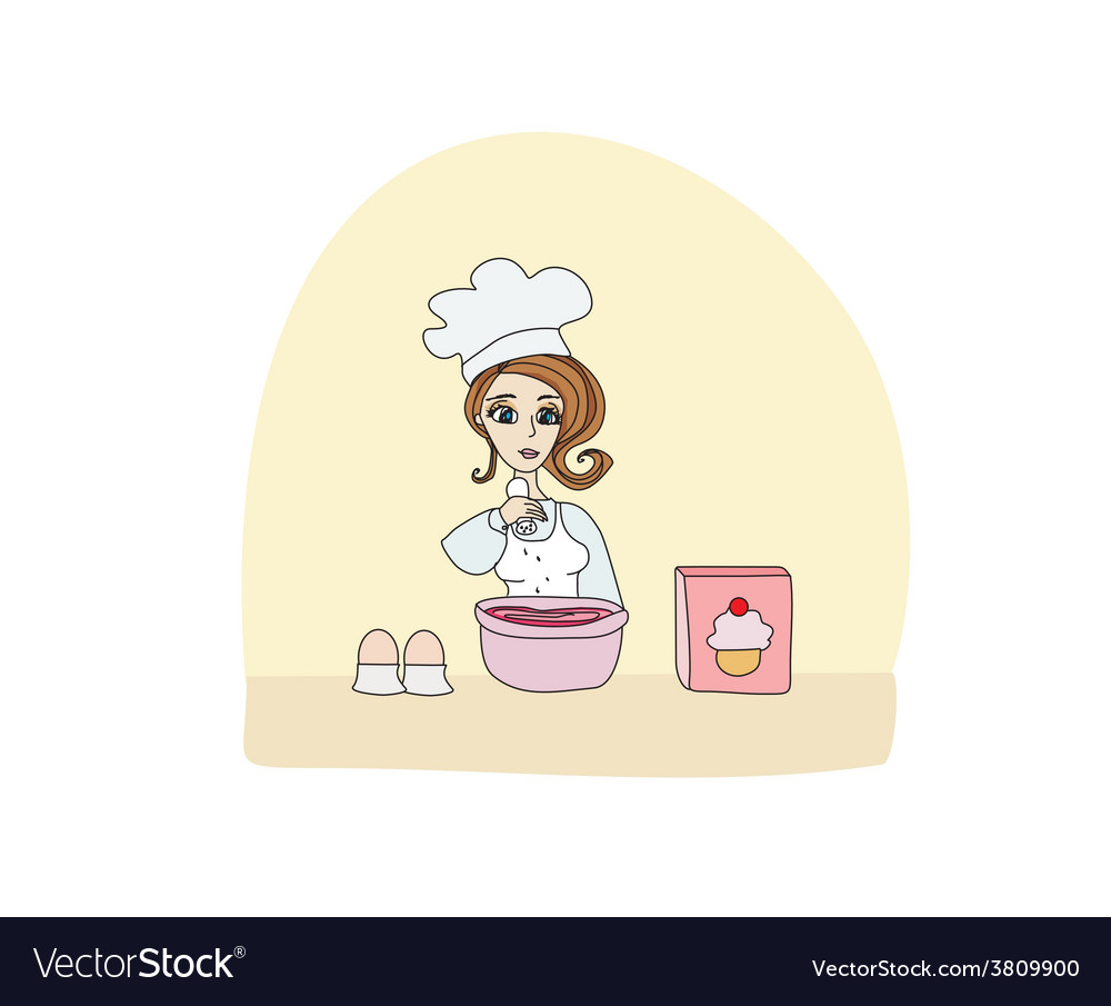 Housewife baked a delicious cake vector | Price: 1 Credit (USD $1)