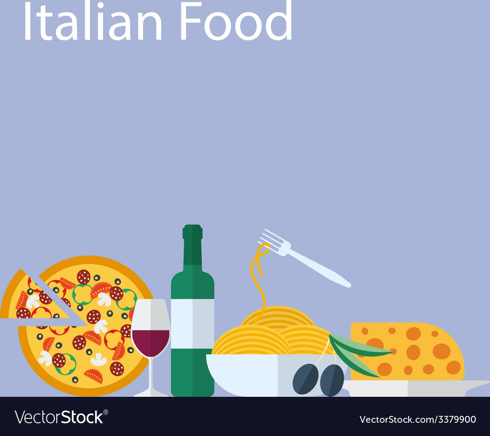 Italian food flat background vector | Price: 1 Credit (USD $1)