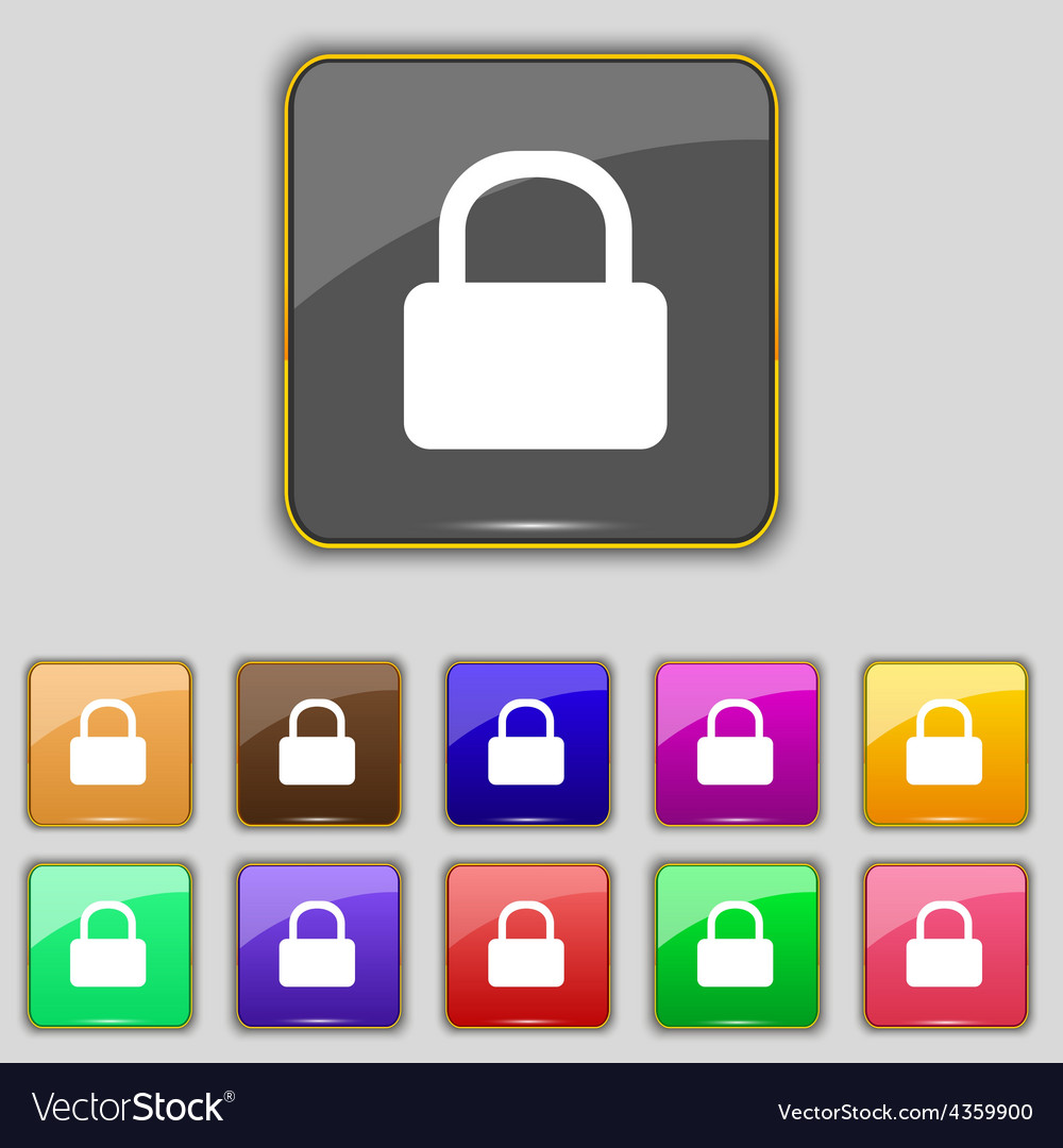 Pad lock icon sign set with eleven colored buttons vector | Price: 1 Credit (USD $1)