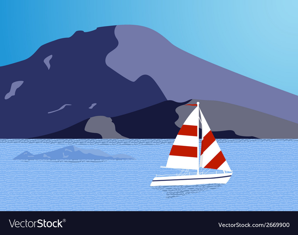 Sea background with yacht vector | Price: 1 Credit (USD $1)