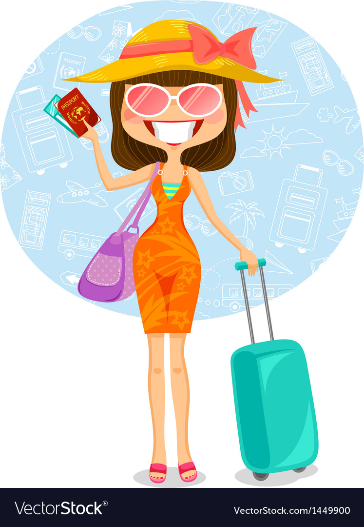 Traveling woman vector | Price: 3 Credit (USD $3)