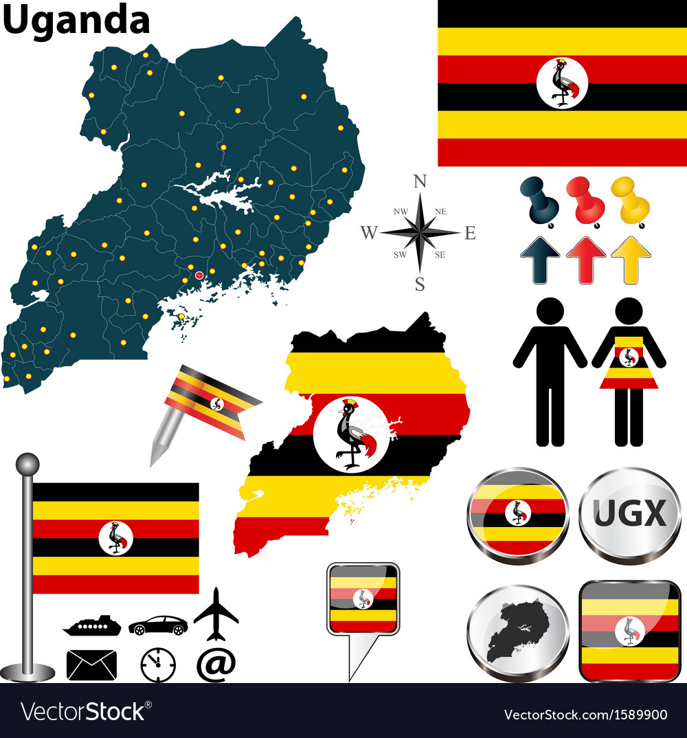Uganda map vector   Price: 1 Credit (USD $1)