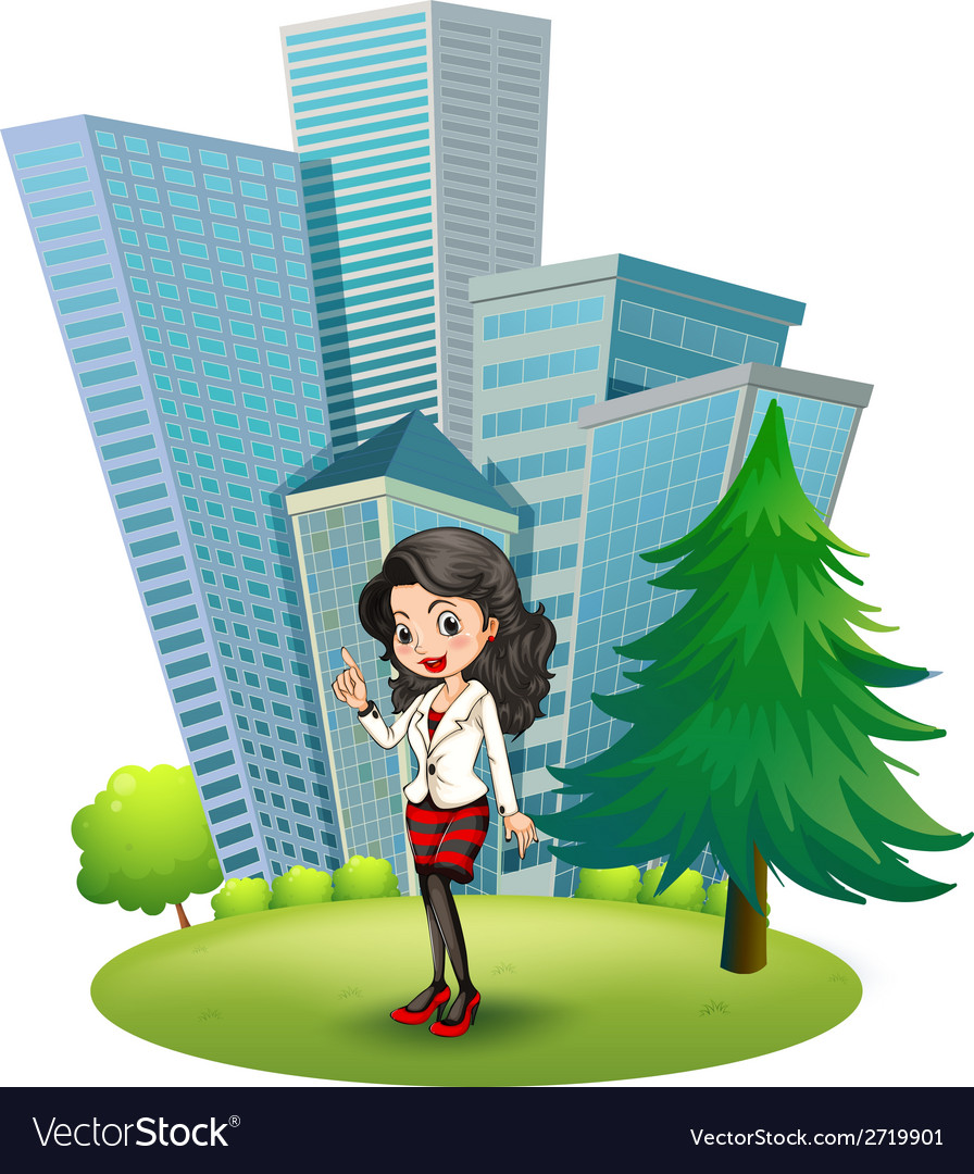 A woman outside the big buildings vector | Price: 1 Credit (USD $1)