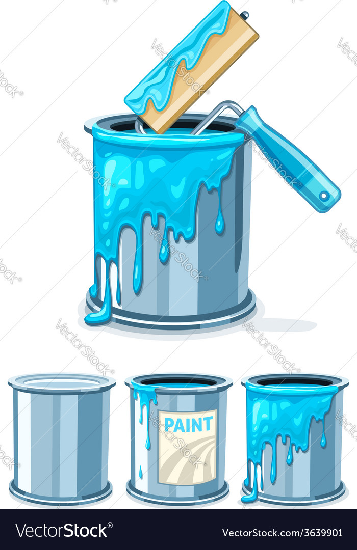 Buckets with blue paint and vector | Price: 3 Credit (USD $3)