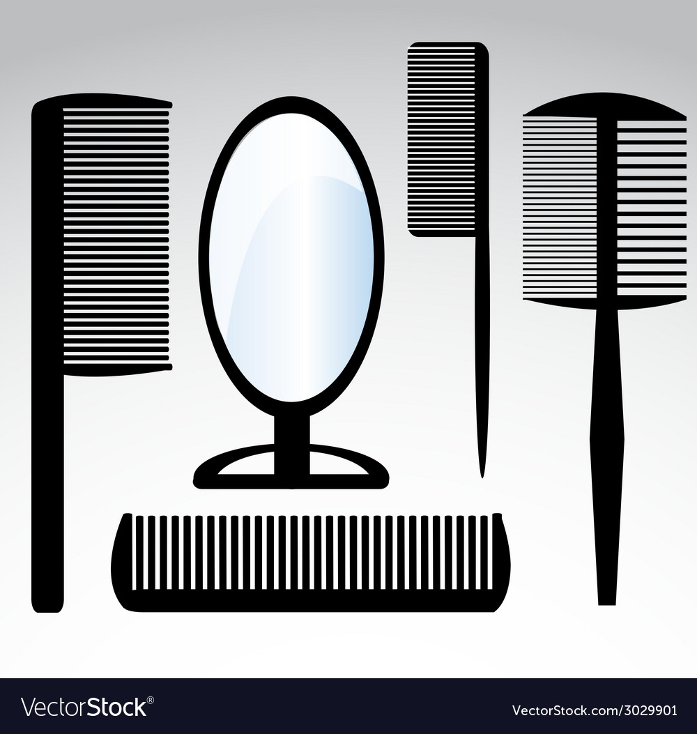 Collection beauty hair salon or barber comb vector | Price: 1 Credit (USD $1)