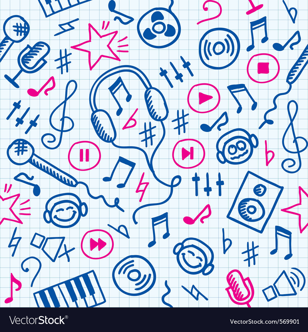 Doodle music pattern vector | Price: 1 Credit (USD $1)