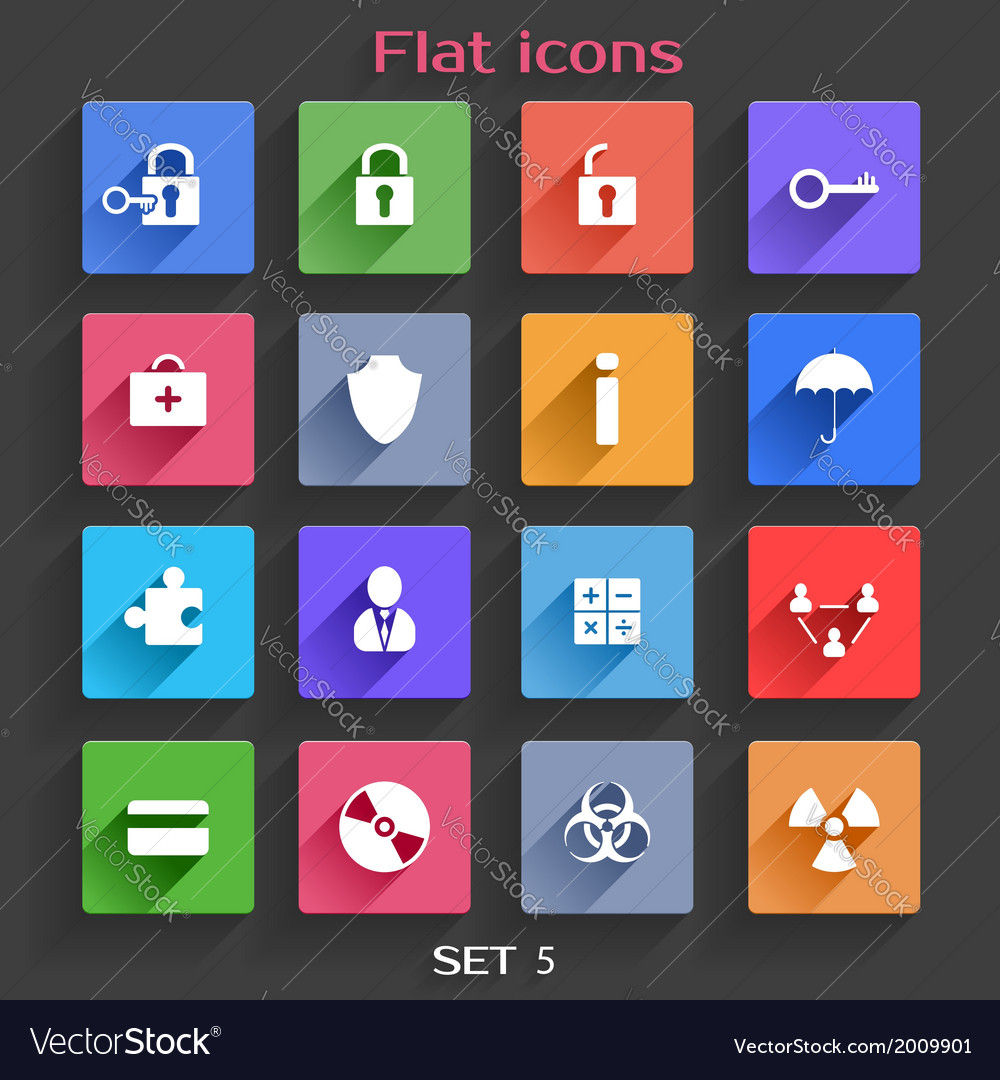 Flat application icons set 5 vector | Price: 1 Credit (USD $1)