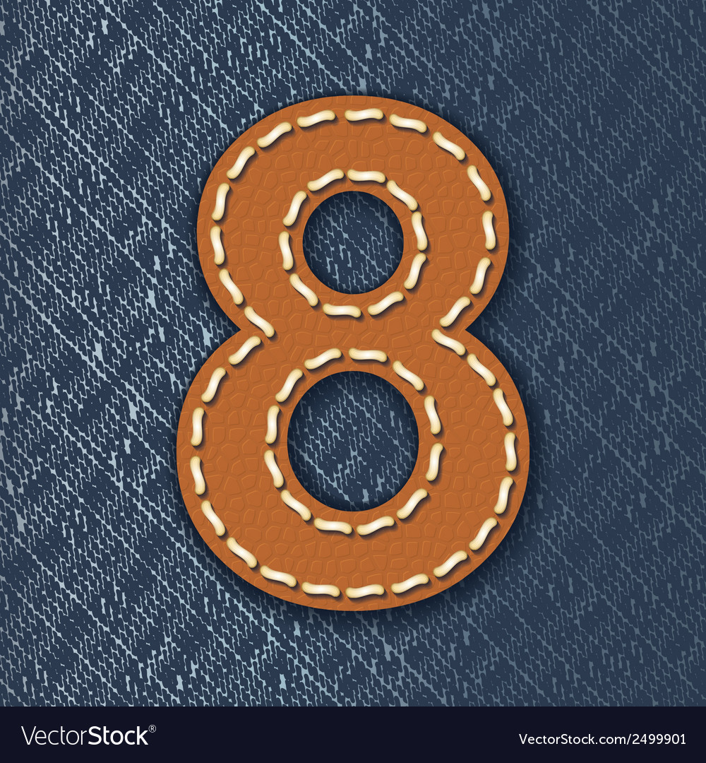 Number 8 made from leather on jeans background vector | Price: 1 Credit (USD $1)