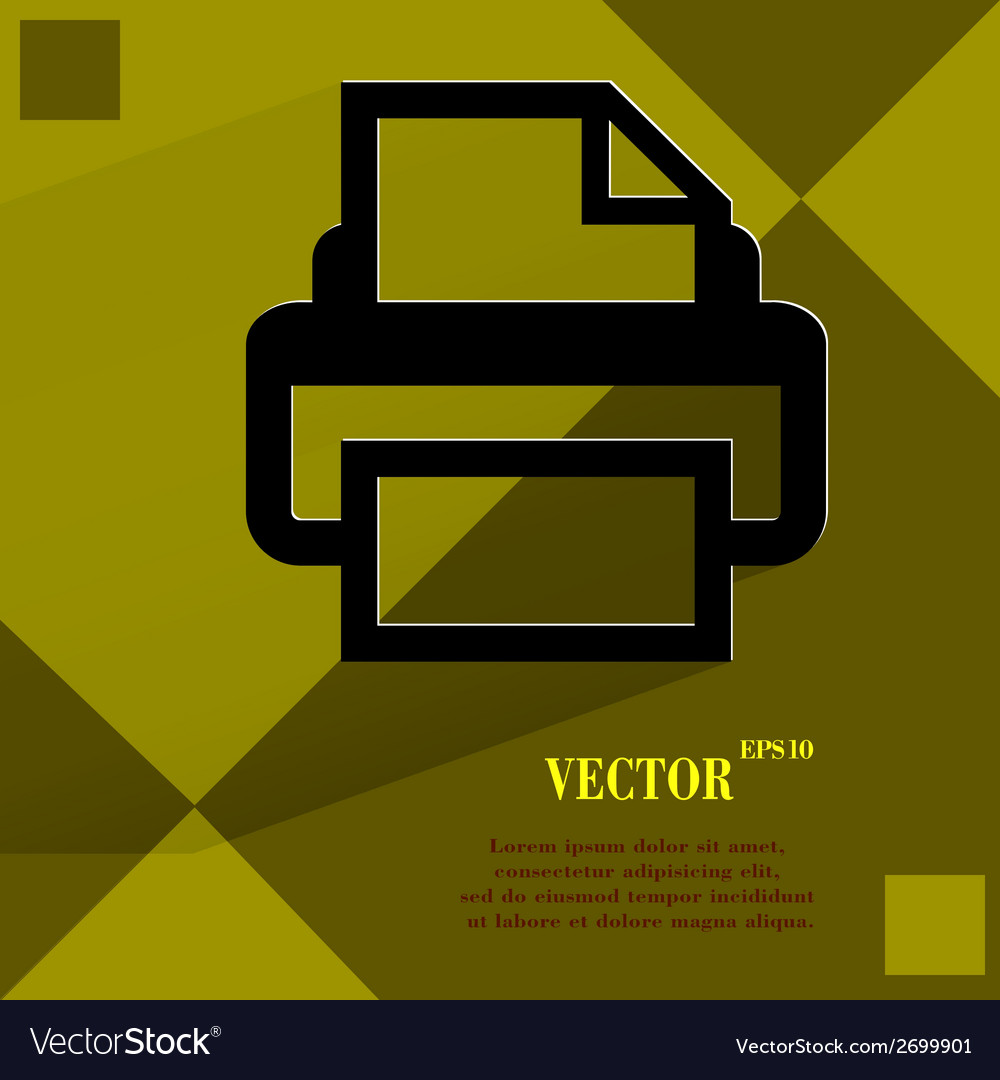 Printer flat modern web design on a flat geometric vector | Price: 1 Credit (USD $1)