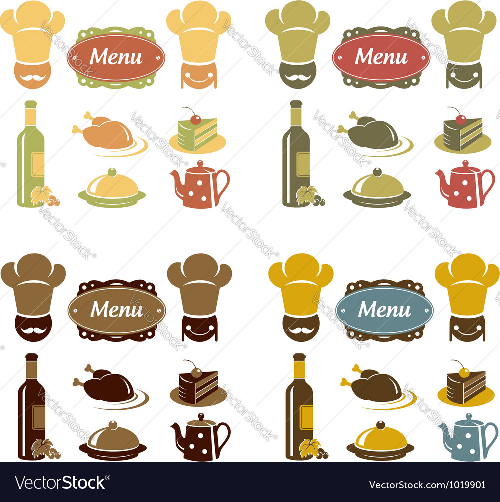 Restaurant menu icons set vector | Price:  Credit (USD $)