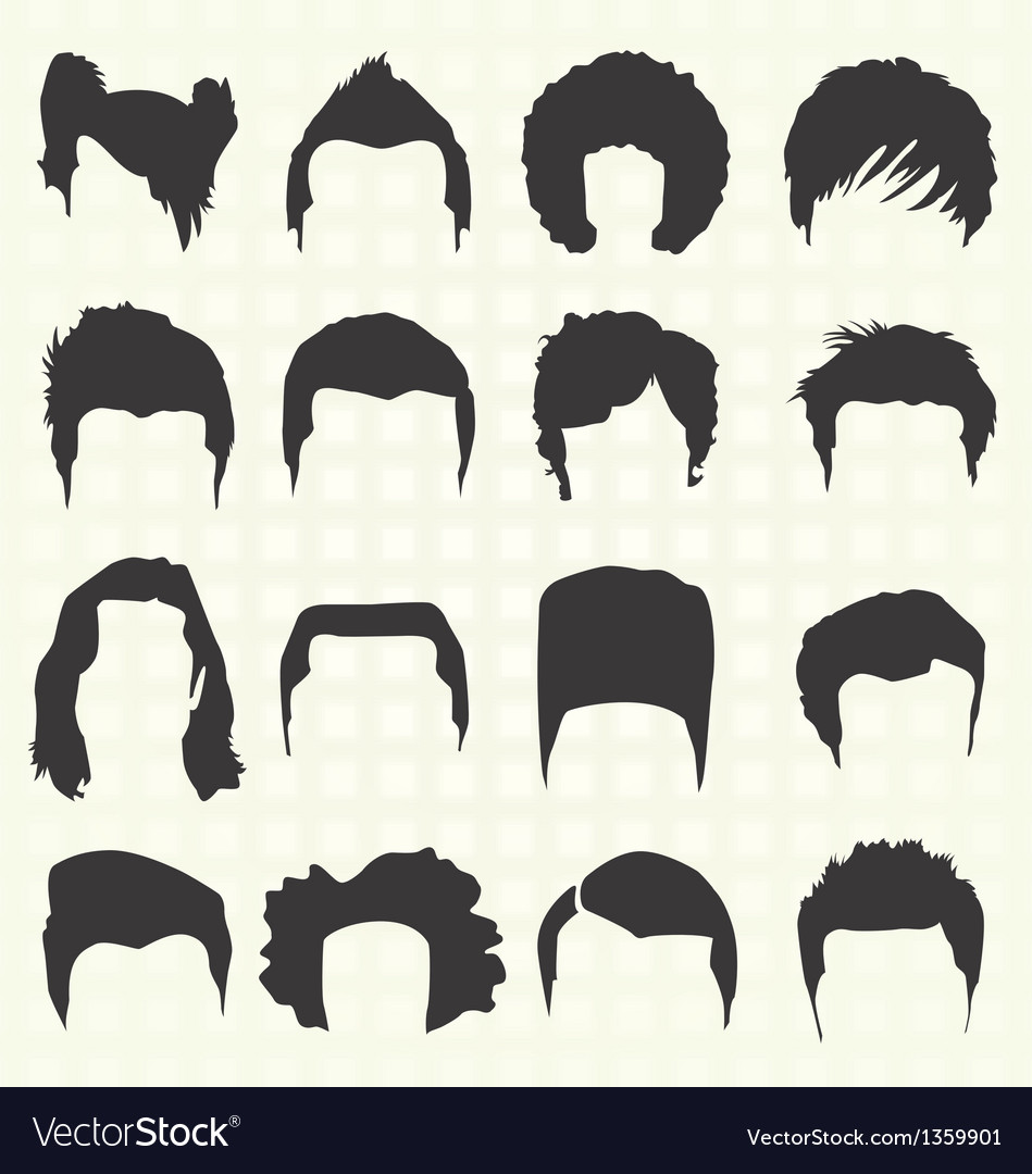 Retro mens hair style silhouettes vector | Price: 1 Credit (USD $1)