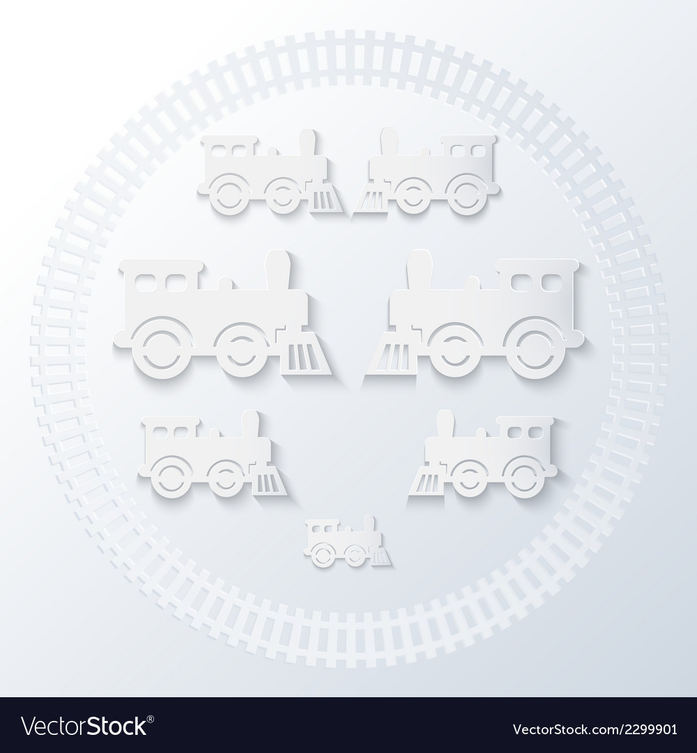 Steam locomotives inside of railway circle vector | Price: 1 Credit (USD $1)