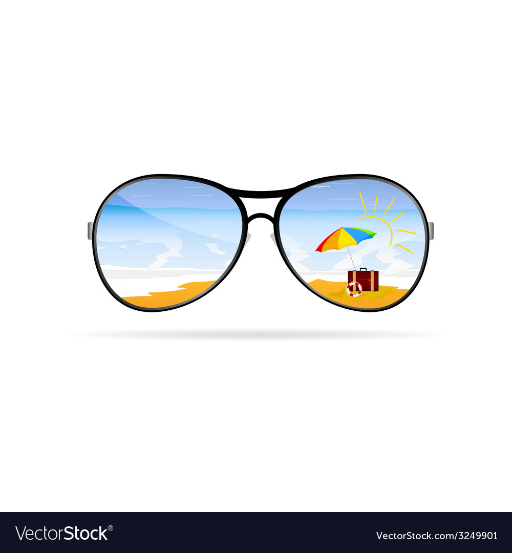 Sunglass with beach art vector | Price: 1 Credit (USD $1)