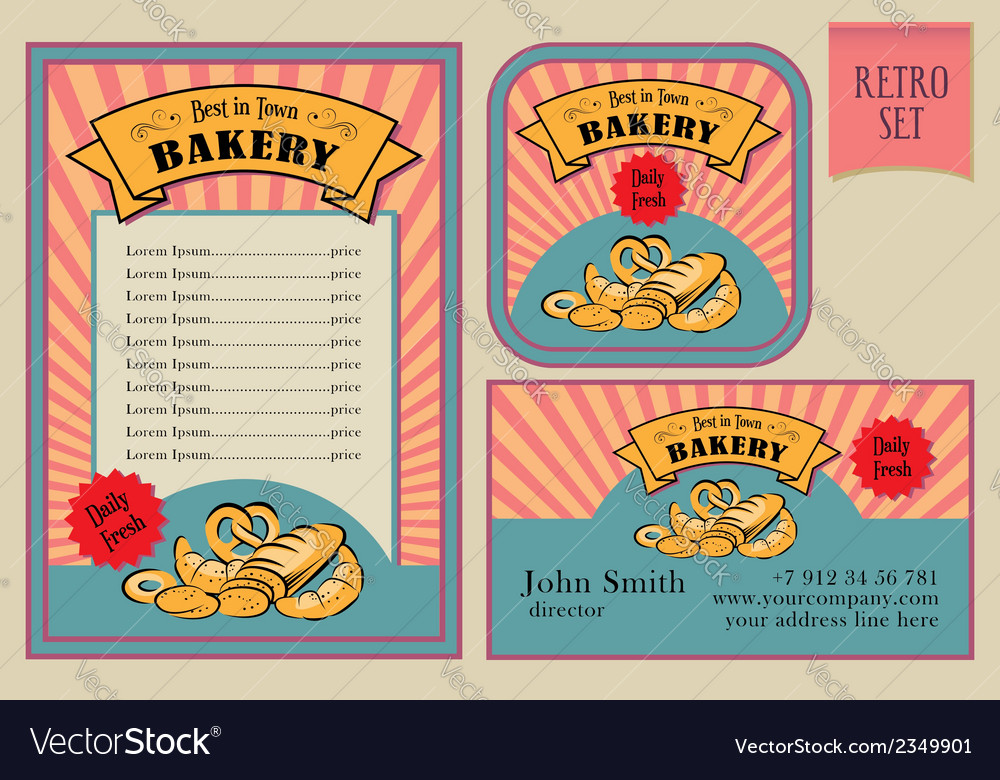 Vintage bakery labels collection vector | Price: 1 Credit (USD $1)