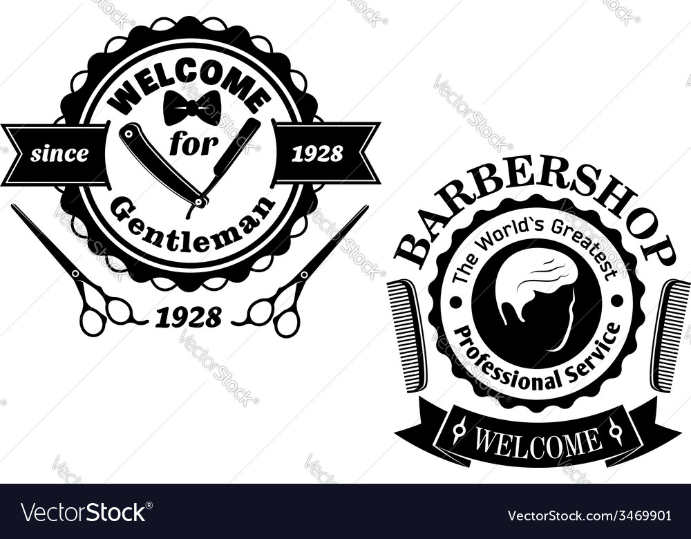 Vintage barber shop badges vector | Price: 1 Credit (USD $1)