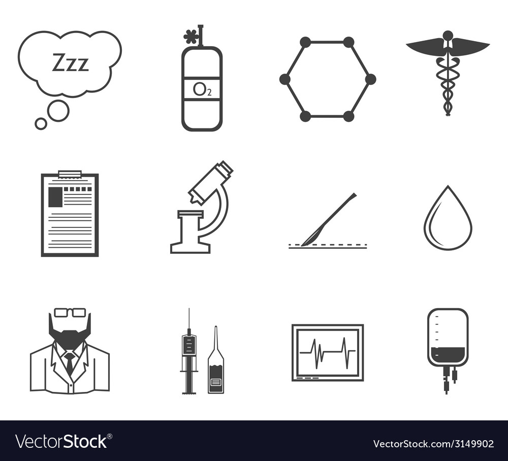 Black icons for anesthesiology vector | Price: 1 Credit (USD $1)