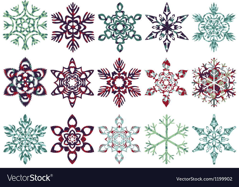 Collection of patch snowflakes easy to change vector | Price: 1 Credit (USD $1)
