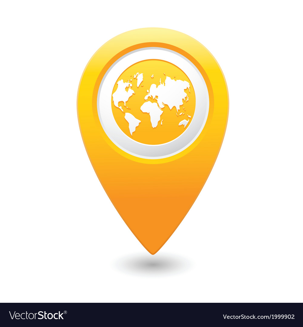 Earth icon on map pointer yellow vector | Price: 1 Credit (USD $1)