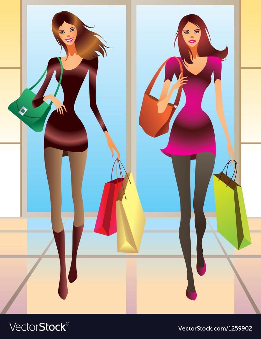 Fashion girls with new purchases vector | Price: 3 Credit (USD $3)