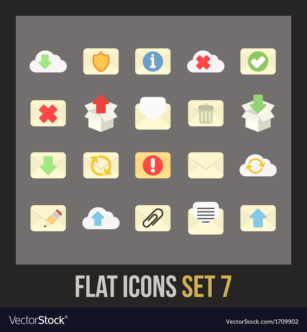 Flat icons set 7 vector | Price: 1 Credit (USD $1)