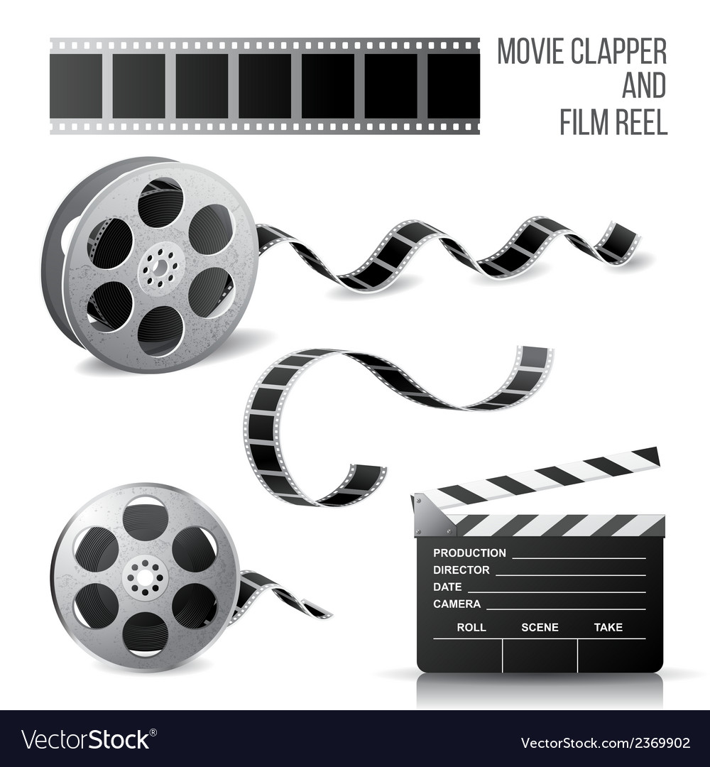 Movie clapper and film reel vector | Price: 1 Credit (USD $1)