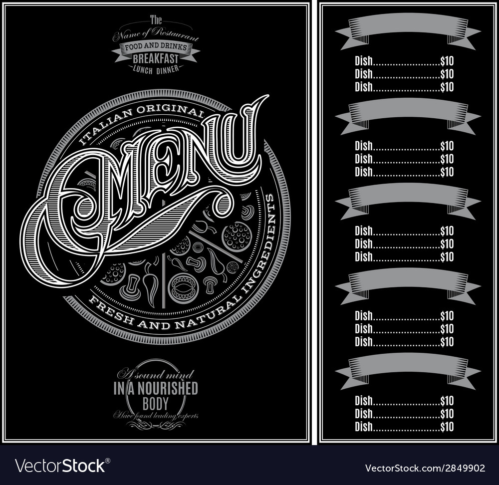 Pattern for menu pizza over black background vector | Price: 1 Credit (USD $1)