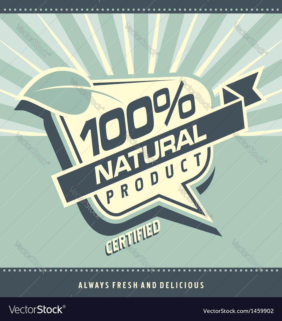 Retro label for organic food vector