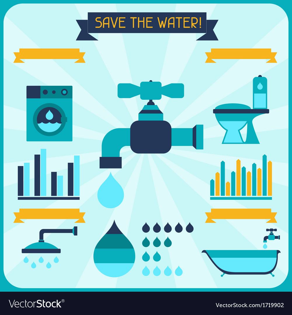 Save the water poster with infographics in flat vector | Price: 1 Credit (USD $1)