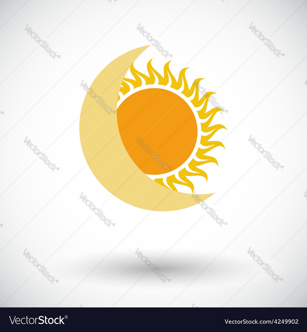 Solar eclipse single icon vector | Price: 1 Credit (USD $1)