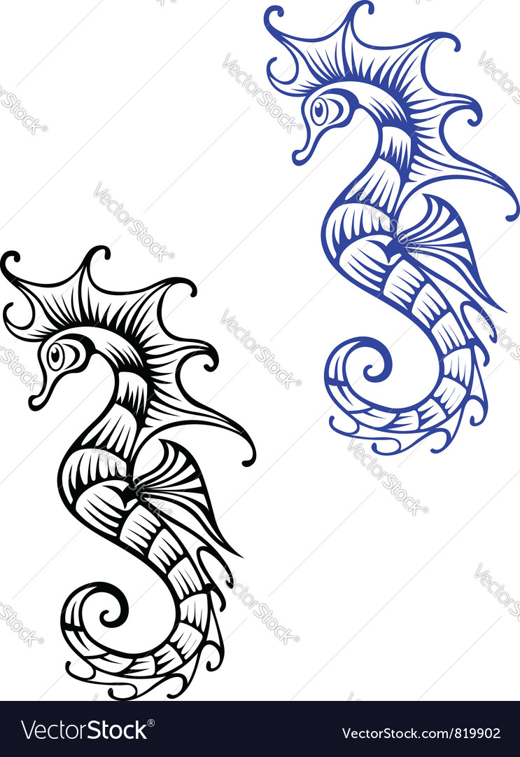 Underwater seahorse vector | Price: 1 Credit (USD $1)