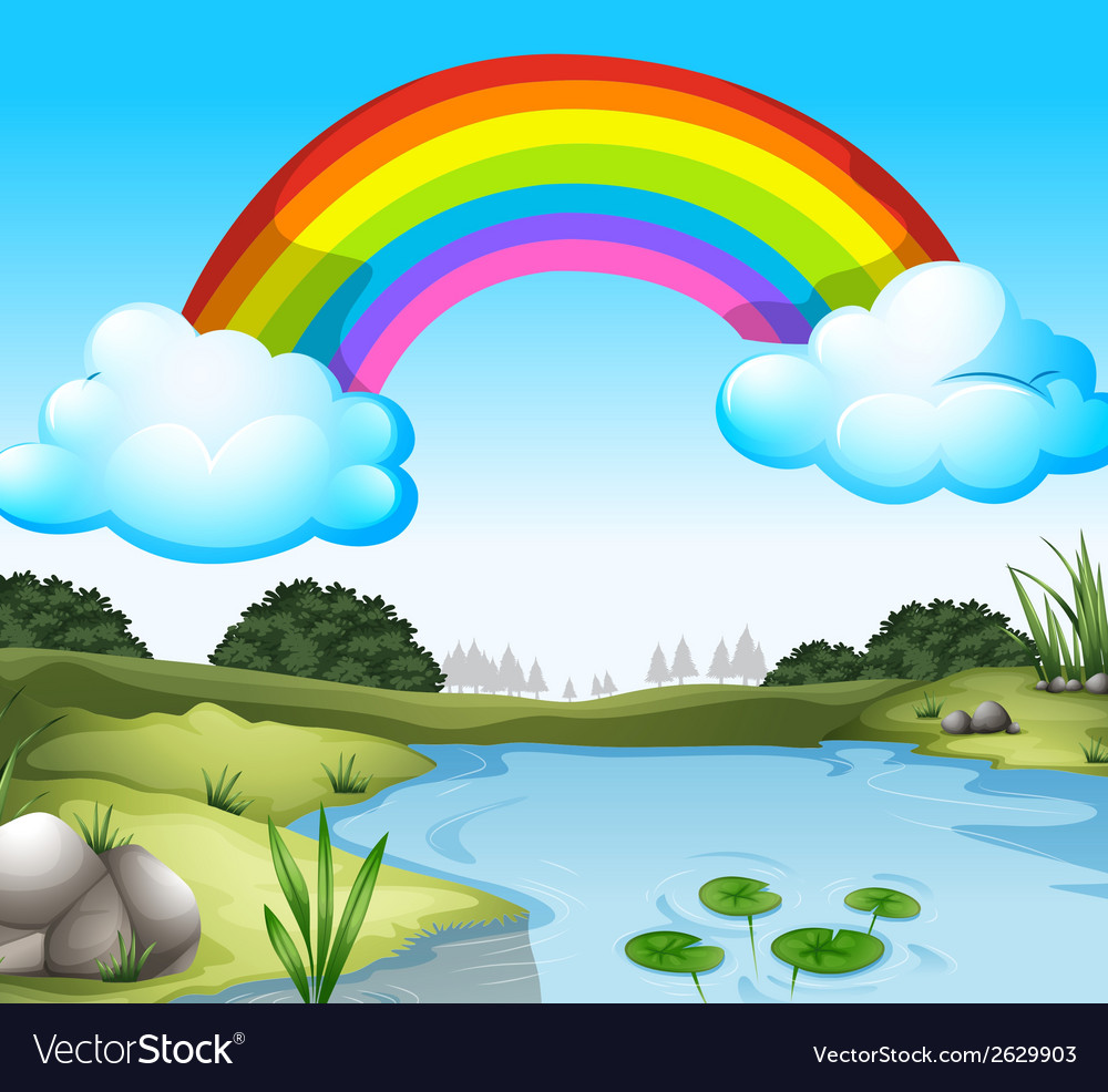 A beautiful scenery with a rainbow in the sky vector | Price: 1 Credit (USD $1)