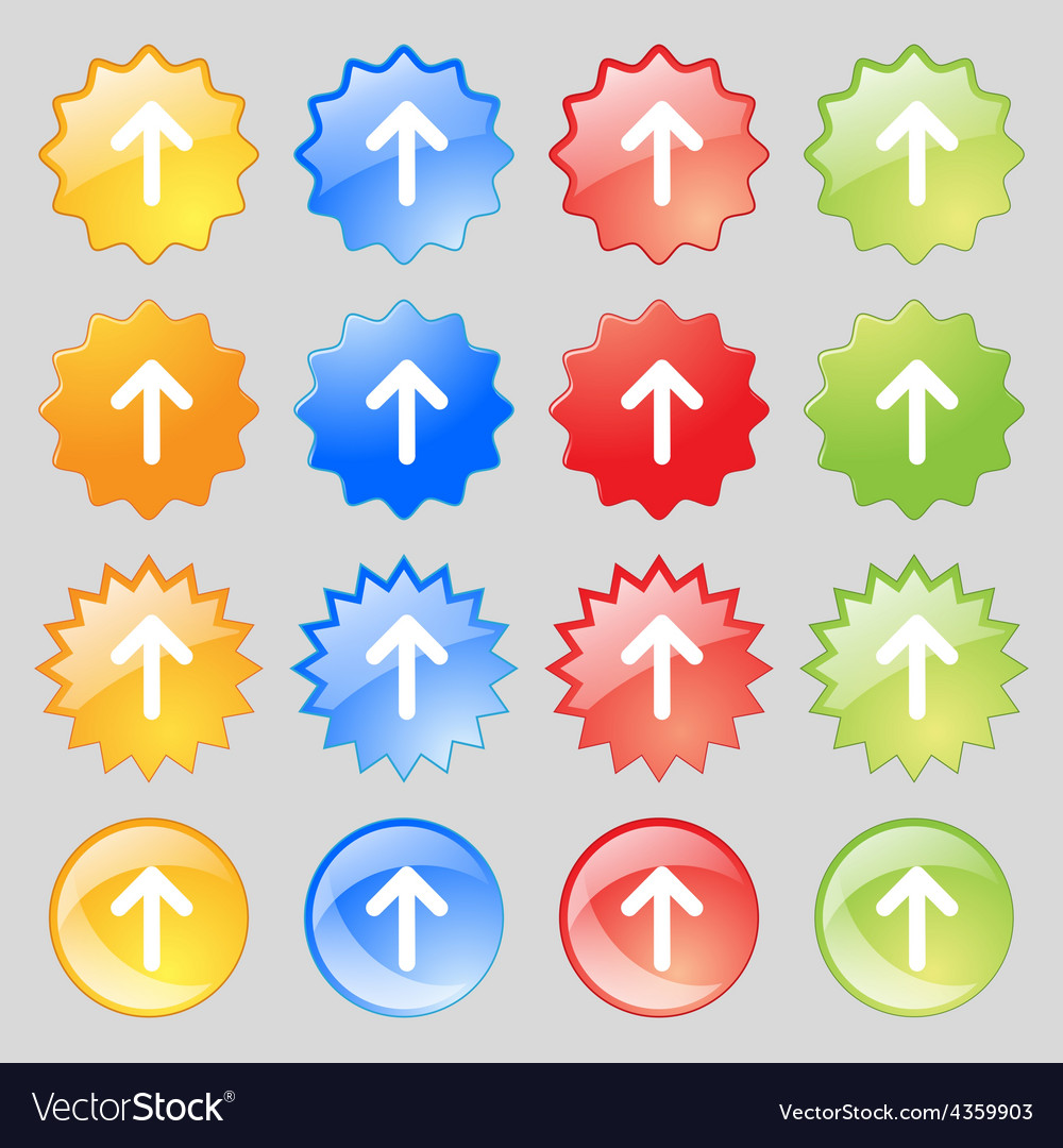 Arrow up this side up icon sign big set of 16 vector | Price: 1 Credit (USD $1)