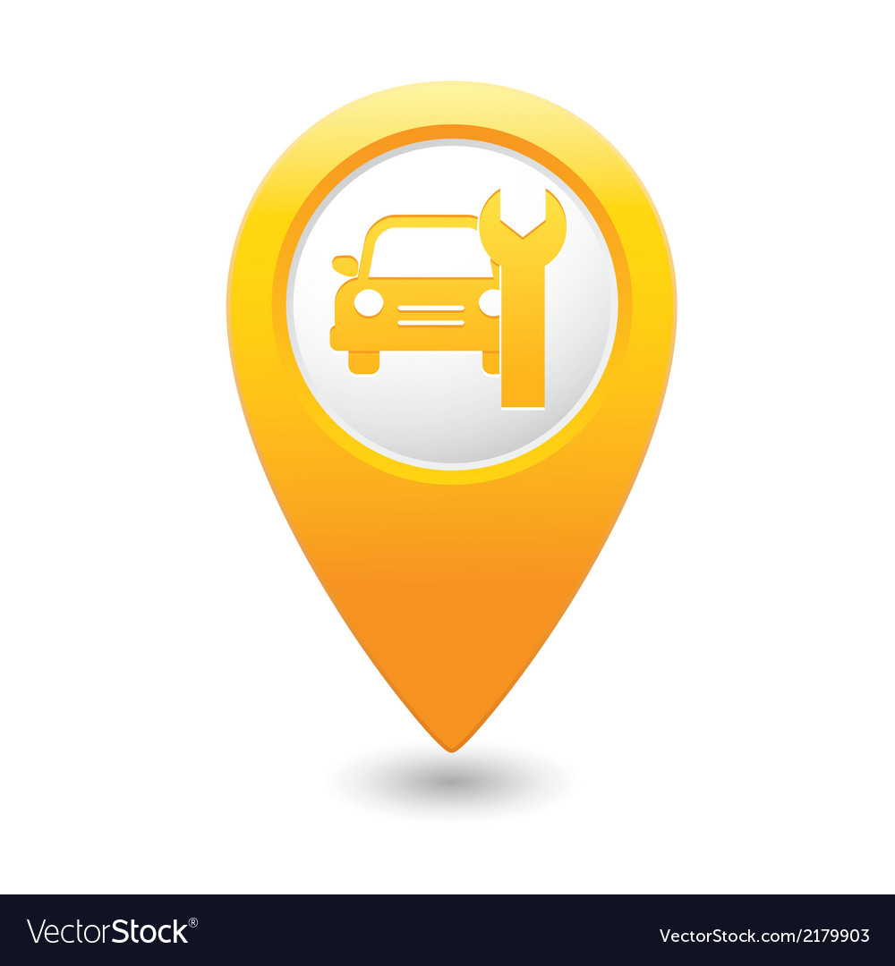 Car service icon on yellow map pointer vector | Price: 1 Credit (USD $1)