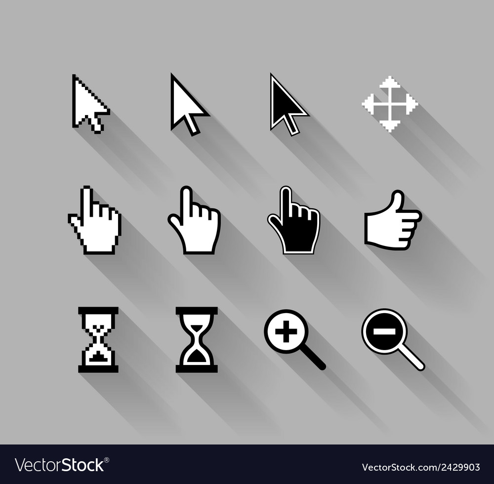 Cursors with long shadows vector | Price: 1 Credit (USD $1)