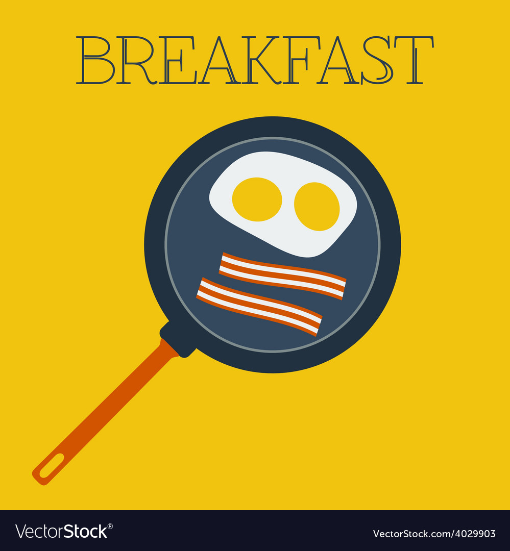 Flat breakfast with scrambled eggs and vector | Price: 1 Credit (USD $1)
